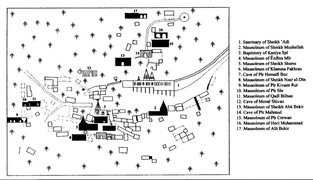 Fig. 39 - Edifici Yazidi a Lalish (Açıkyıldız 2015: Map 9)